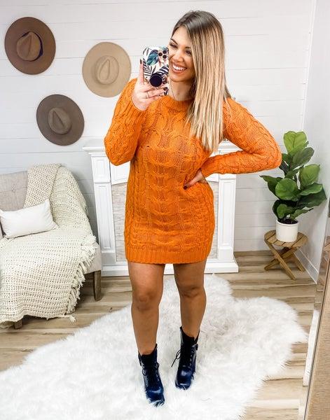 Cozy At Midnight Tangerine Sweater Dress
