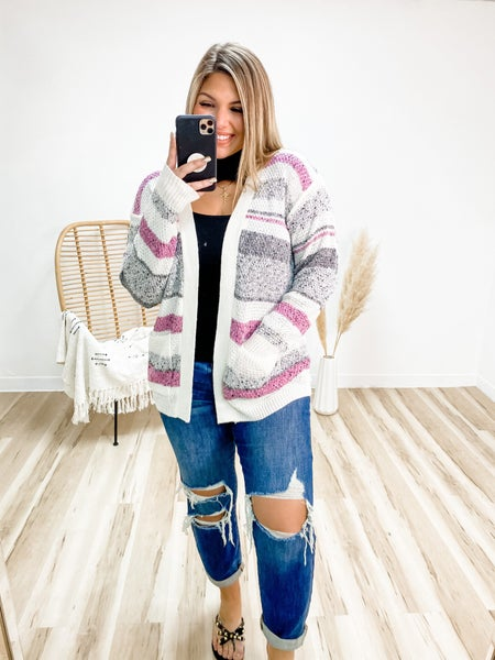 Stand By You Hot Pink Striped Cardigan