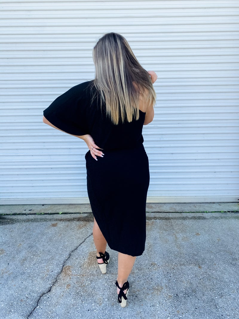Cheers To Us Black Sparkle One Shoulder Dress