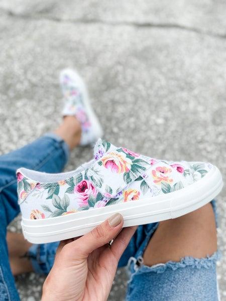 White Floral Cross Strap Shoe