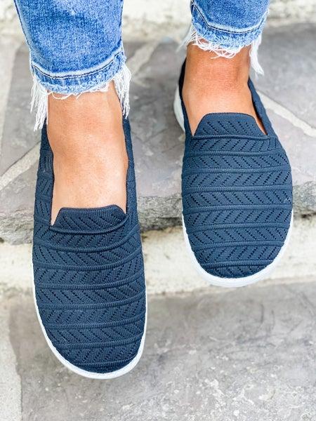 Black Knitted Slip On Shoe