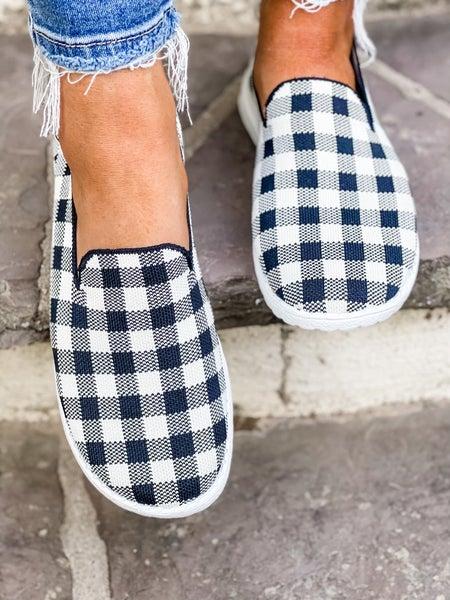 Black And White Checkered Slip On Shoe