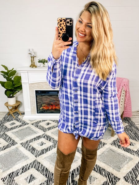 Plaid About You Button Down Tunic