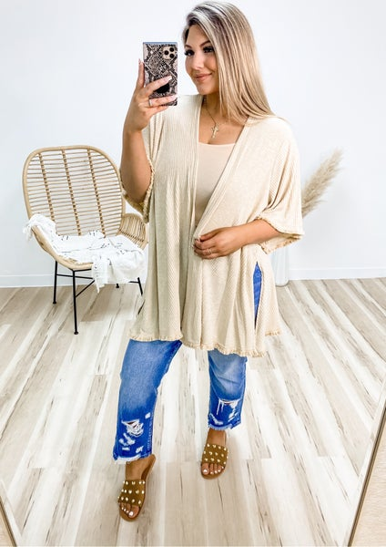 Save It For Later Taupe Frayed Cardigan