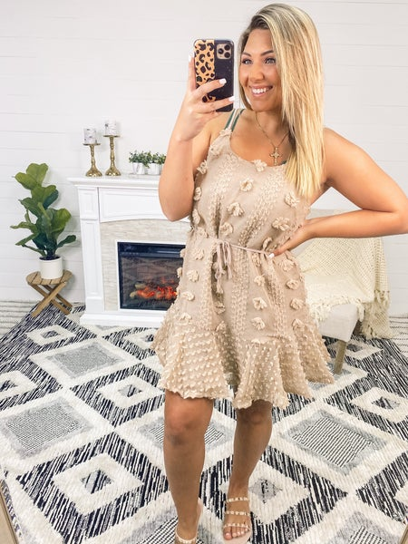 Catch You Later Mocha Dotted-Swiss Dress