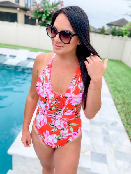 Red Floral Lace Up Detail One Piece Swimsuit