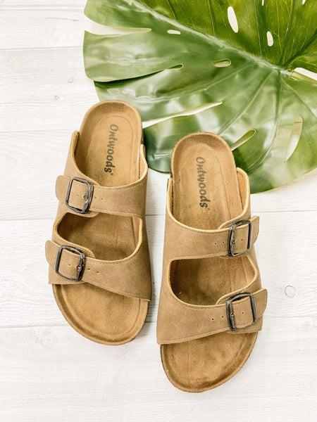 Taupe Slip On Sandals