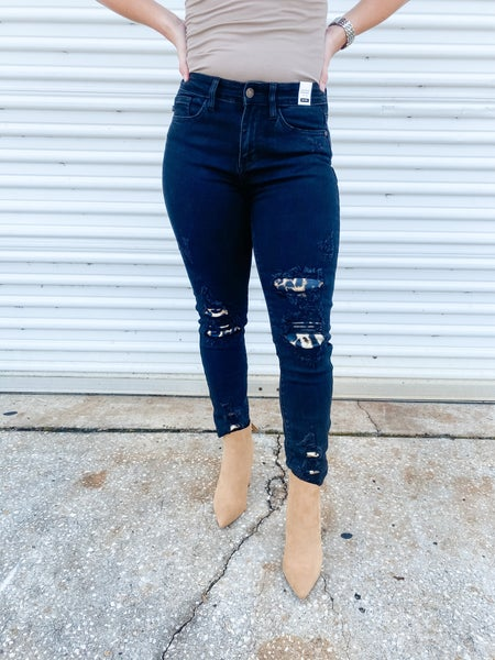 Bring Out Your Wild Side Black Patched Judy Blue Jeans