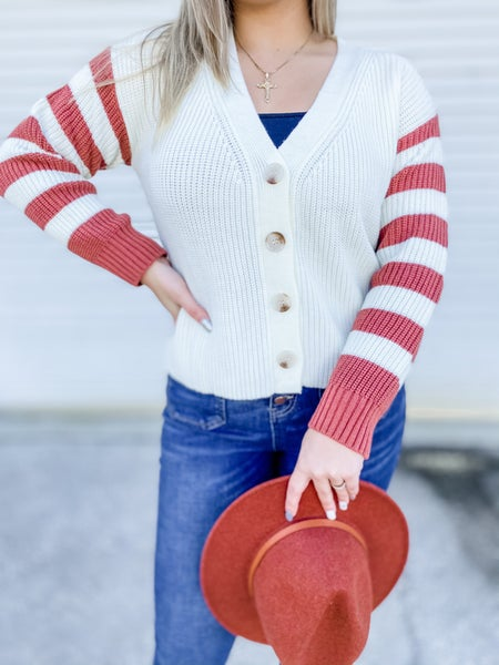 What I Like About You Rust Combo Button Down Cardigan