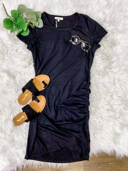 Don't Ruche Me Black Dress