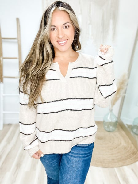Make You Look Both Ways Taupe Striped Sweater