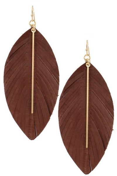 Brown Worn Gold Genuine Leather Feather Earrings