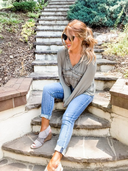 Frilled To See You Olive Long Sleeve Top