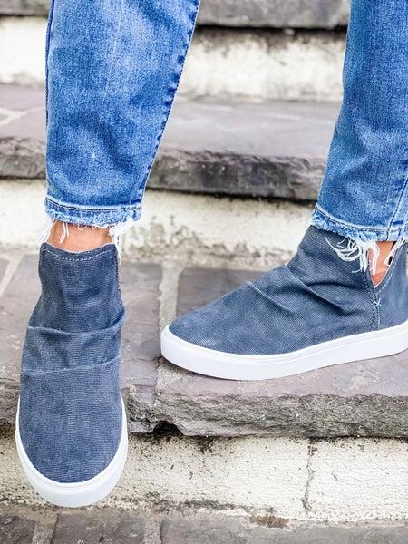 Charcoal High Top Zip Up Shoe