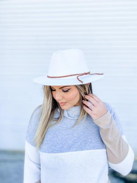 White Wool Leather Braided Fedora