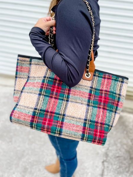 Red Multi Plaid Tote With Chain Strap
