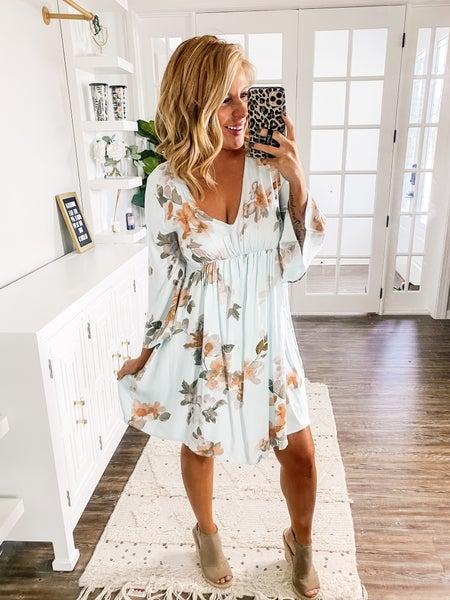 Always Proper Floral Bell Sleeve Dress