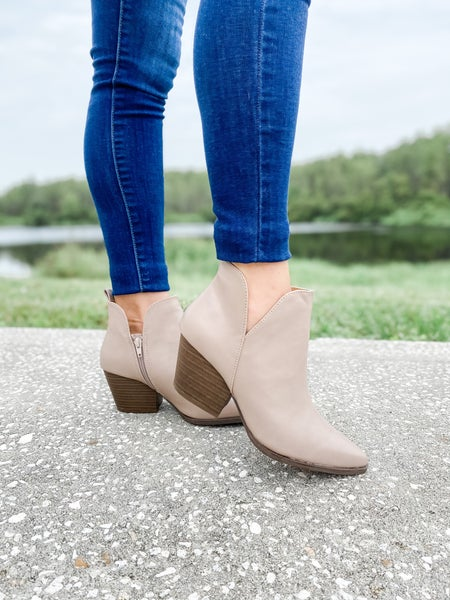 Taupe Faux Leather Pointed Toe Bootie