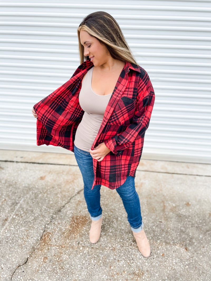To The West Red Plaid Oversized Jacket