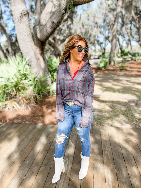 Make It Edgy Grey Plaid Button-Up Top