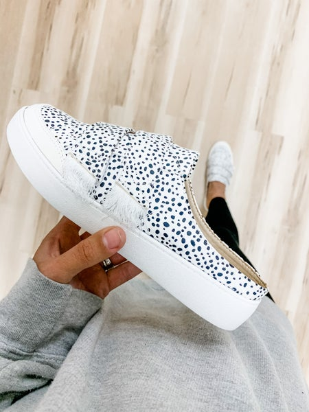 Black Polka Dotted Slip On Backless Sneakers