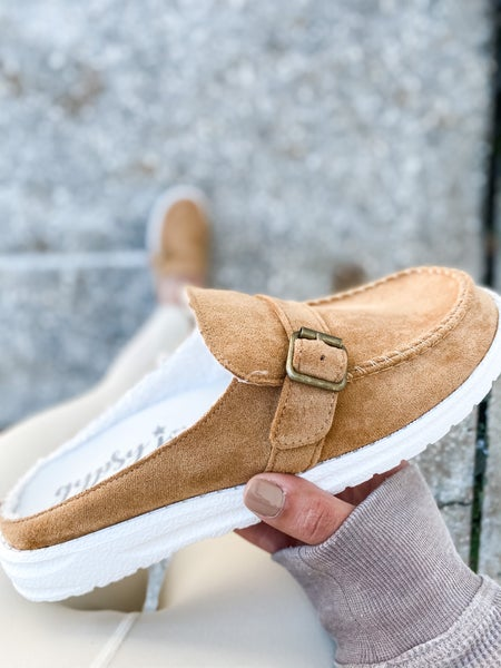 Tan Backless Buckle Shoes
