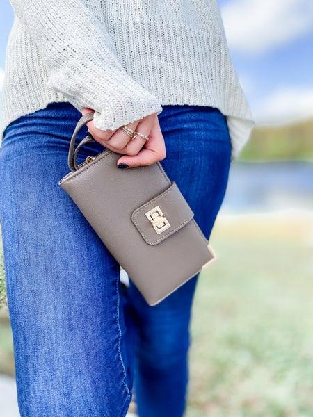 Taupe Bi-fold Crossbody Wallet