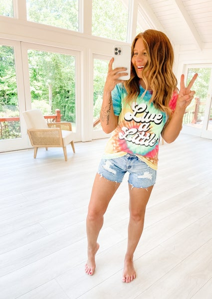 Live A Little Tie Dye Graphic Tee