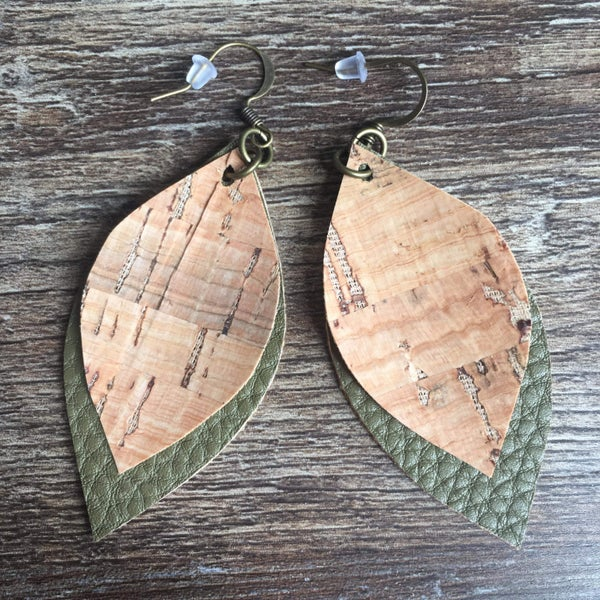 Two layered green wood earrings