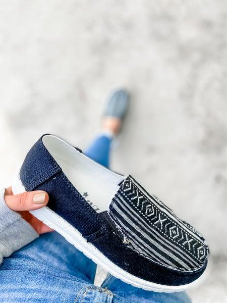 Black Aztec Slip On Shoe