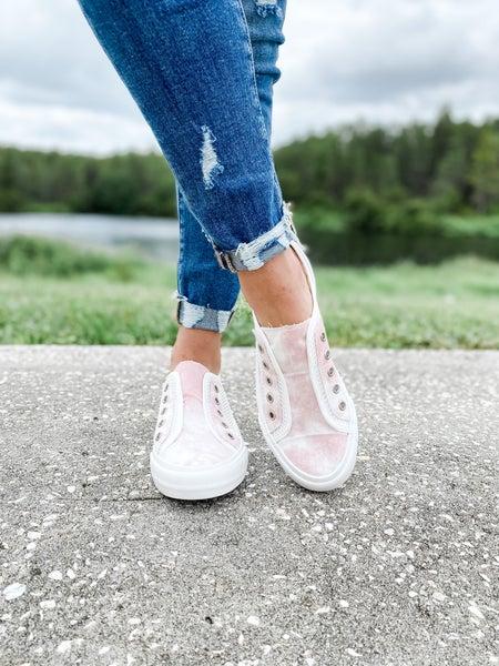 Pink Tie-Dye Net Slip On Tennis Shoe