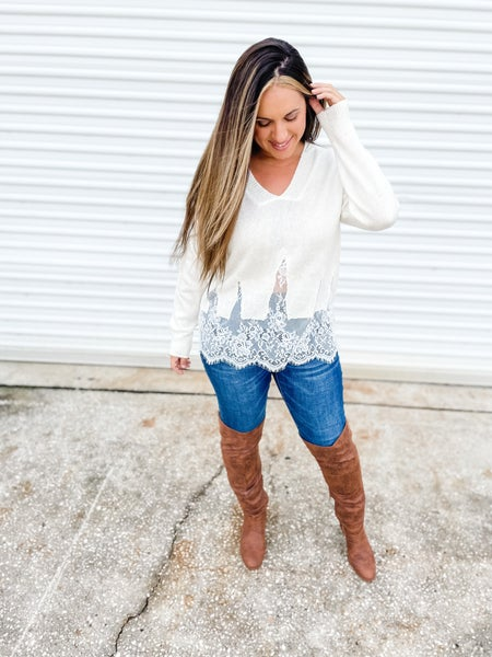 With Love And Lace Distressed Ivory Top