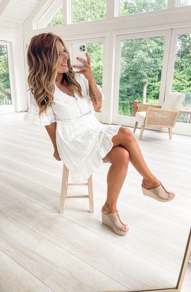 Lace Of Spades White V Neck Dress