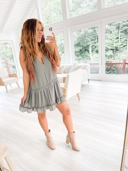 Tiered Apart Olive Mini Dress