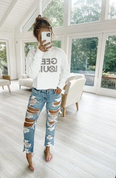 Cut Hem Off Distressed Boyfriend Jeans