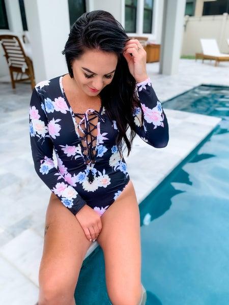 Black Floral Long Sleeve Swimsuit