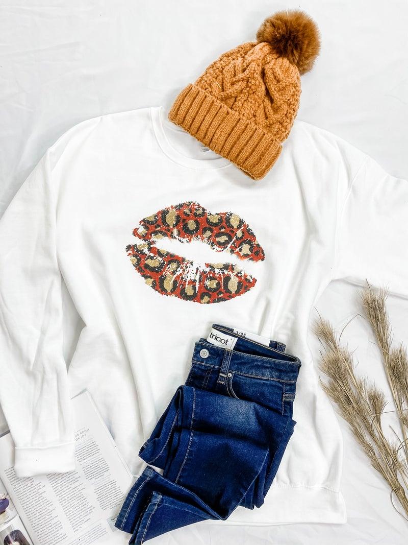 Red Leopard Lips Graphic Sweatshirt
