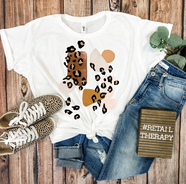 Abstract Leopard Graphic Tee