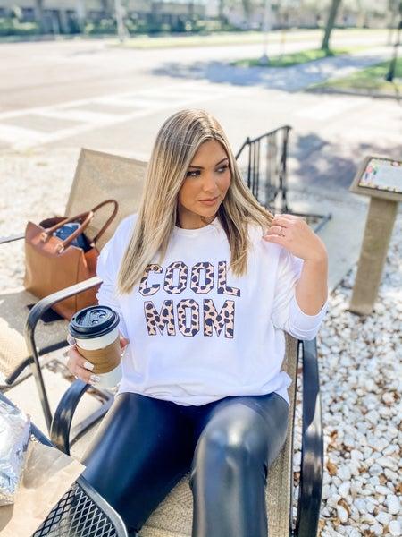 Leopard Cool Mom Graphic Sweatshirt