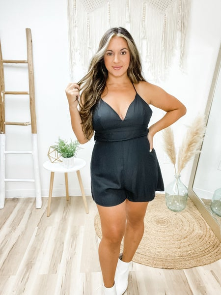 Up For The Night Black Tie Romper