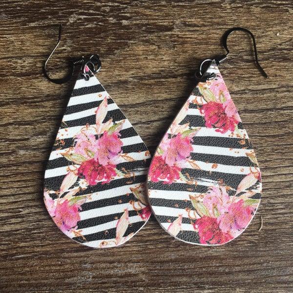 black stripped floral earrings