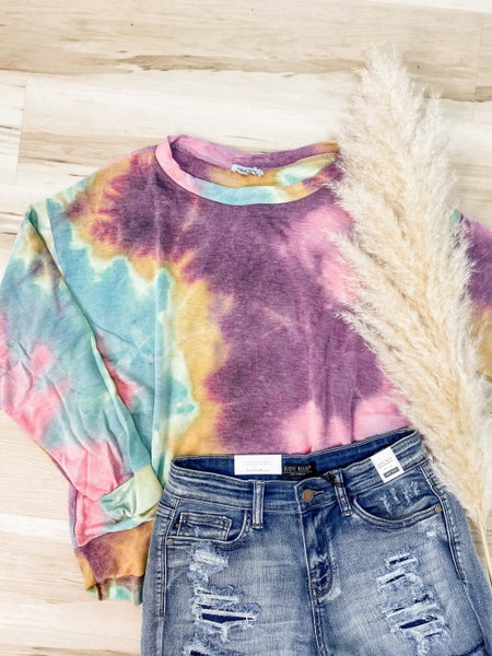 A Perfect Muse Purple And Mint Tie-Dye Sweater