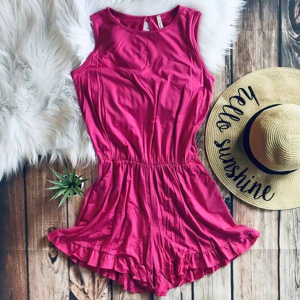 HOT PINK SOLID ROMPER WITH RUFFLE DETAIL