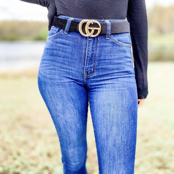 Textured Black Big Gold Letter Accent Belt