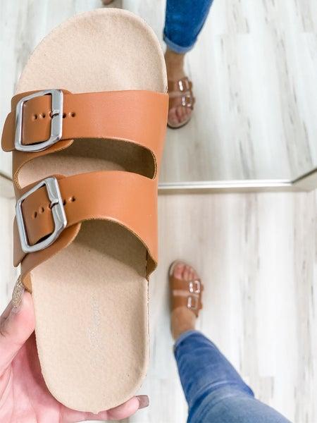 Tan 2-Strap Silver Buckle Sandal
