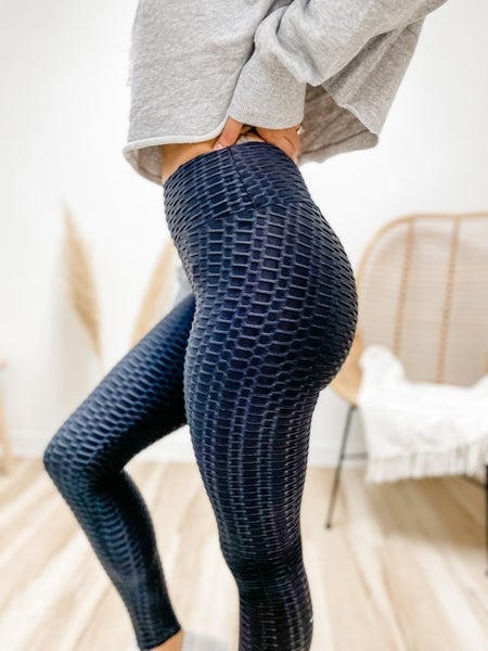 Setting Records High Waisted Textured Leggings