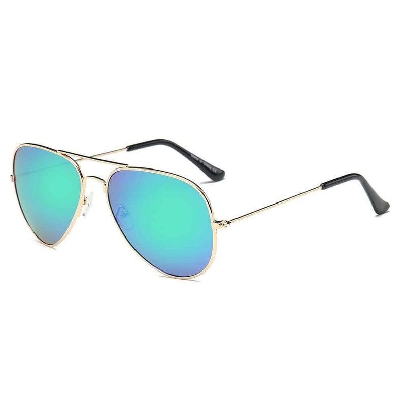Purple & Green Teardrop Aviator Sunglasses