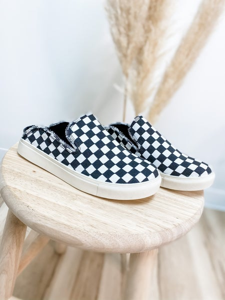 Black And White Checkered Backless Slip On Shoe
