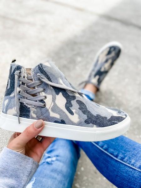 Grey Camo High Top Zip Up Shoe