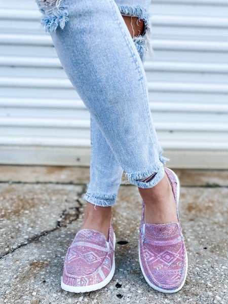 Pink Aztec Slip On Shoes